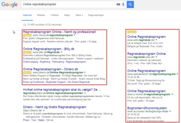 Google adwords i søgeresultater